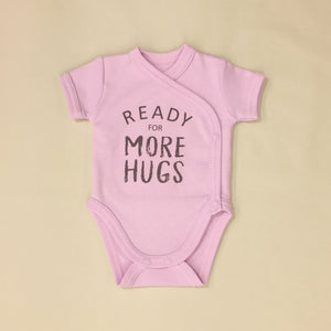 NICU Friendly Graphic Kimono Bodysuit Ready for More Hugs Lilac  Made in Canada