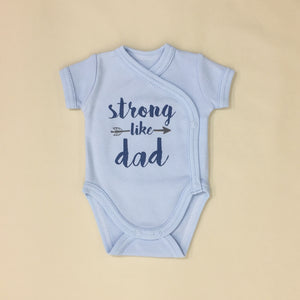 NICU Friendly Graphic Kimono Bodysuit Strong Like Dad Blue Made in Canada