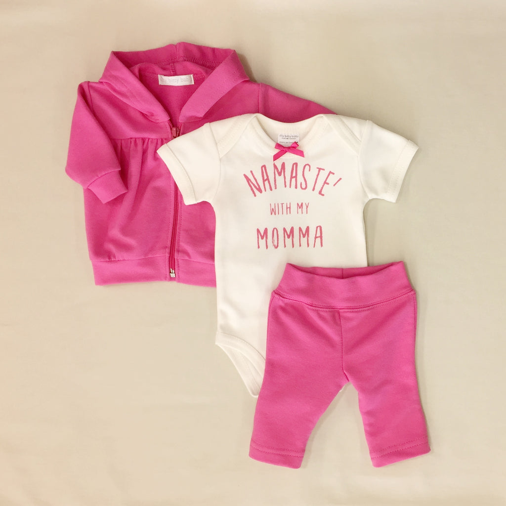 Little Lotus Yoga Hoodie, Bodysuit & Pant Set