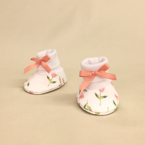 NICU Tulips cotton preemie baby booties socks