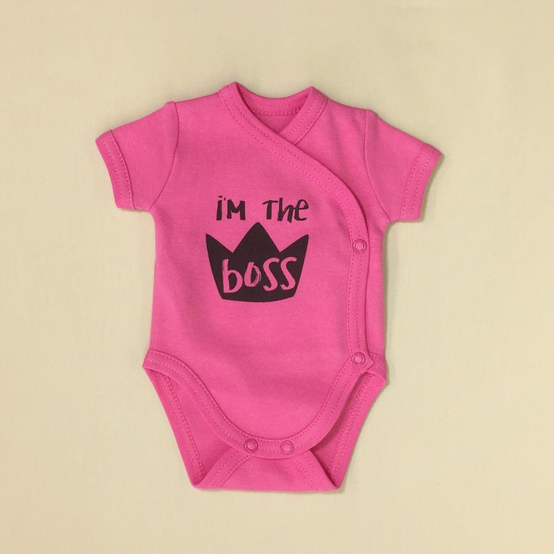 NICU Friendly Kimono Baby Bodysuit I'm the Boss Fuchsia Made in Canada