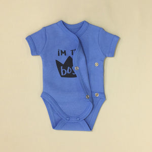 NICU Friendly Kimono Baby Bodysuit I'm the Boss Deep Blue Made in Canada