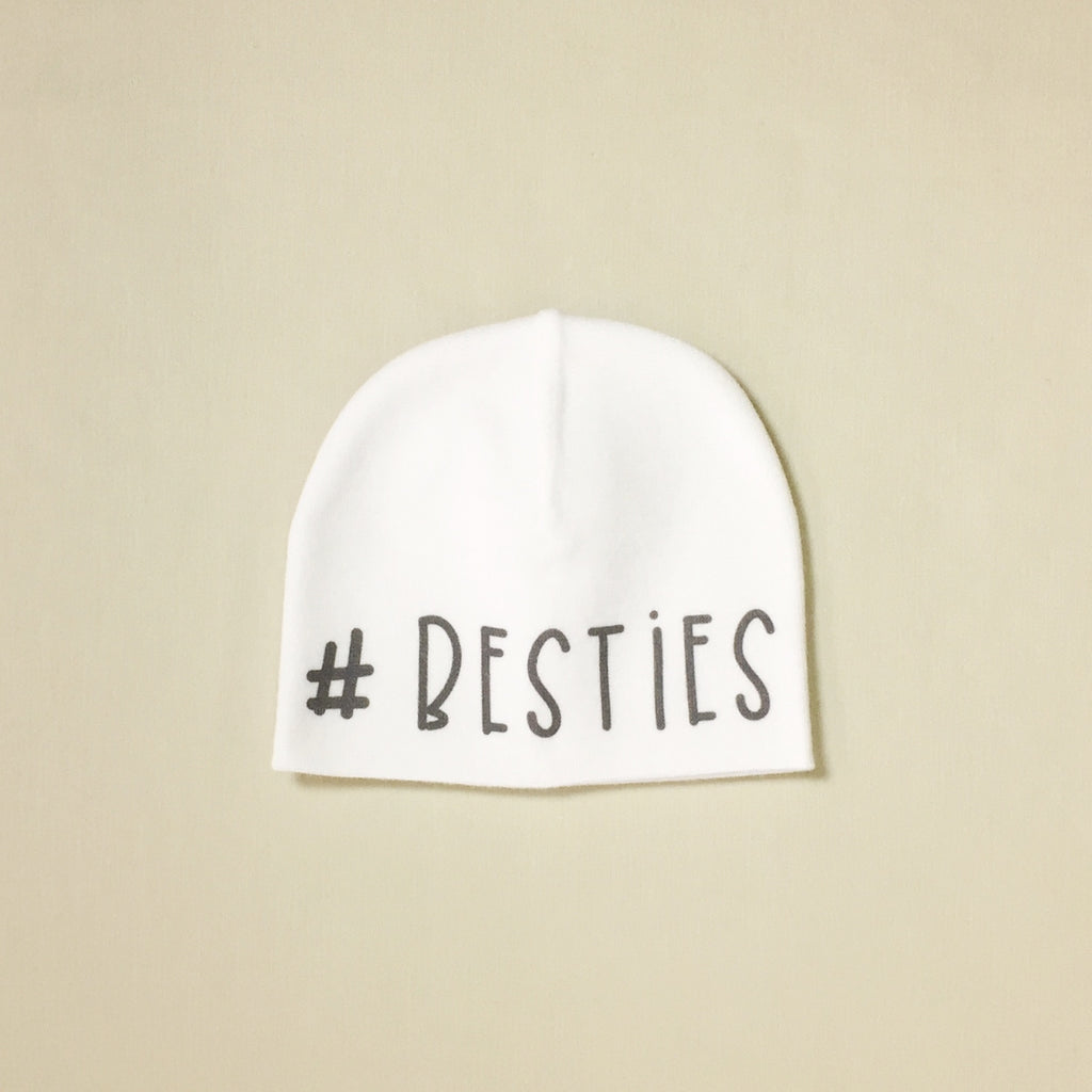 #besties NICU preemie baby hat White Made in Canada