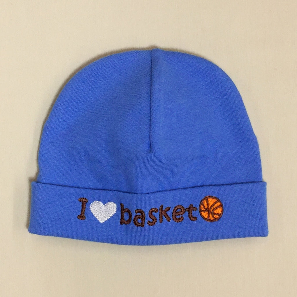 I Love Basketball embroidered baby hat in deep blue Made in Canada
