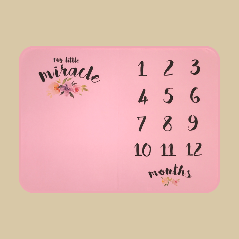 My Little Miracle Pink baby photo milestone blanket