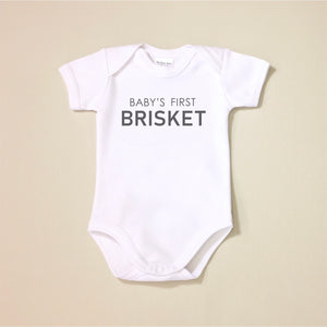 USA Cotton graphic baby onesie Baby's First Brisket Jewish Made in Canada