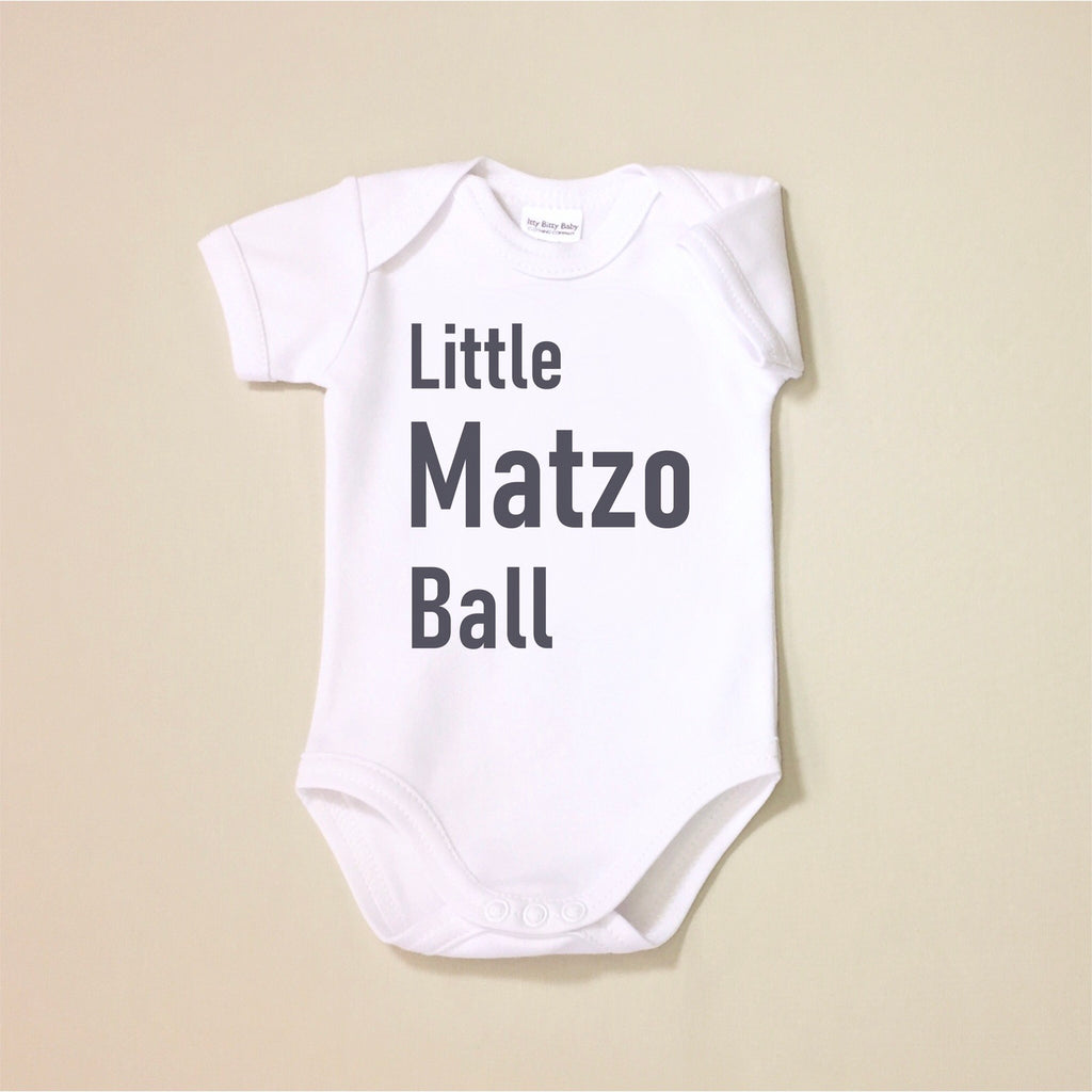 USA Cotton graphic baby onesie White  Little Matzo Ball Jewish Made in Canada