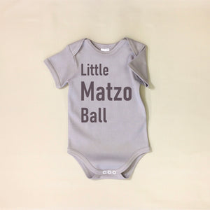 USA Cotton graphic baby onesie Silver  Little Matzo Ball Jewish Made in Canada