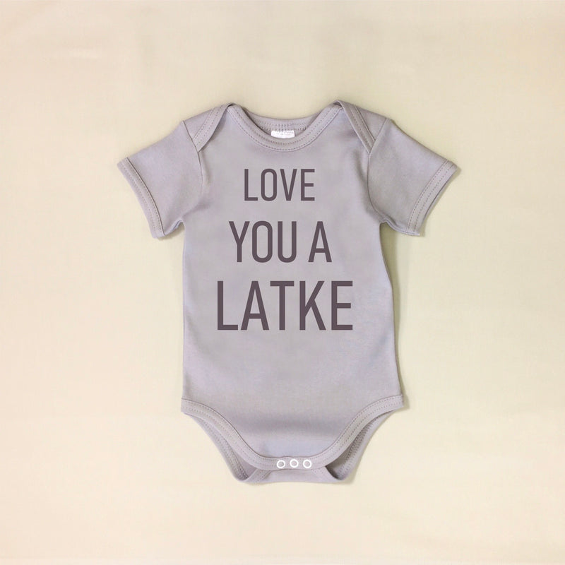 USA Cotton graphic baby onesie love you a latke Jewish Made in Canada