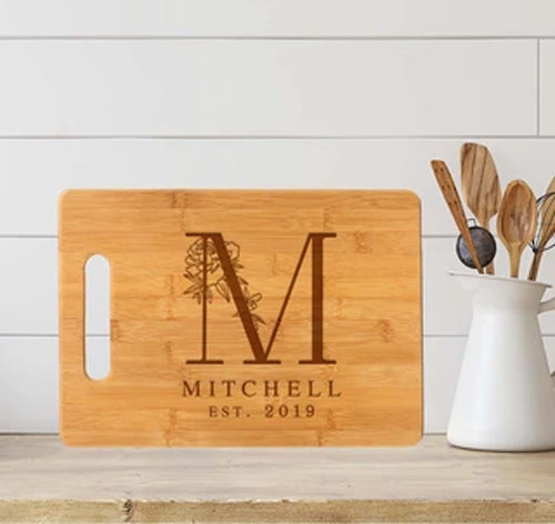 mitchell monogram cutting board
