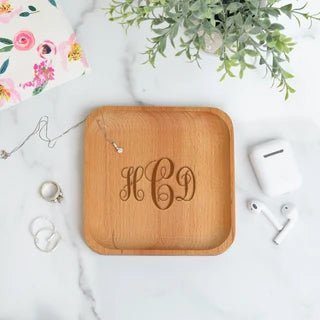 monogram wood tray