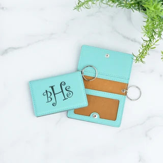teal initial monogram wallet