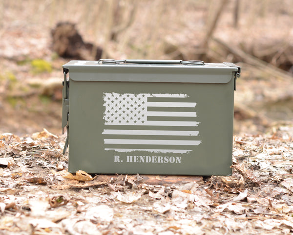 Personalized Ammo Can Grunge American Flag