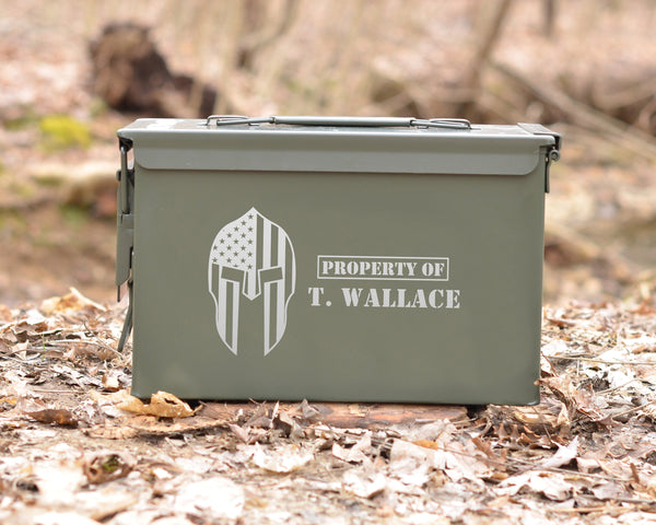 Personalized Ammo Can Spartan Helmet