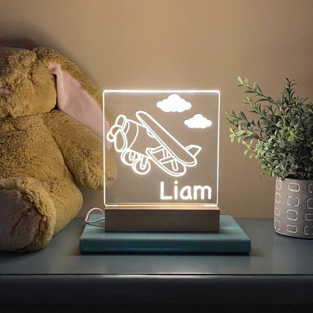 Airplane Night Light Kids Room - Stamp Nouveau