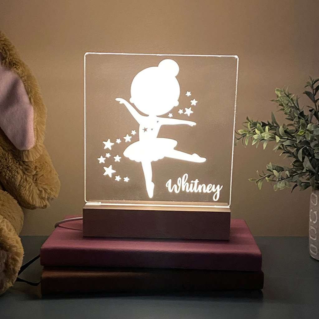 Personalized Ballerina Night Light For Kids Room - Stamp Nouveau