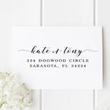 The Dogwood self inking address stamp is a fun design with swashes and handwritten script to add flair to your outgoing invitations, stationery or a fun wedding gift, engagement gift or housewarming gift.