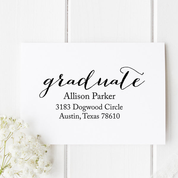 Fancy Graduation Address Stamp G9