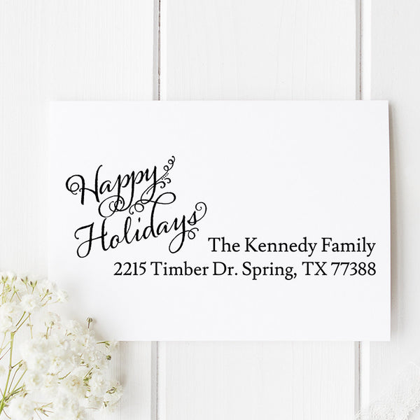 Happy Holidays Return Address Stamp H11