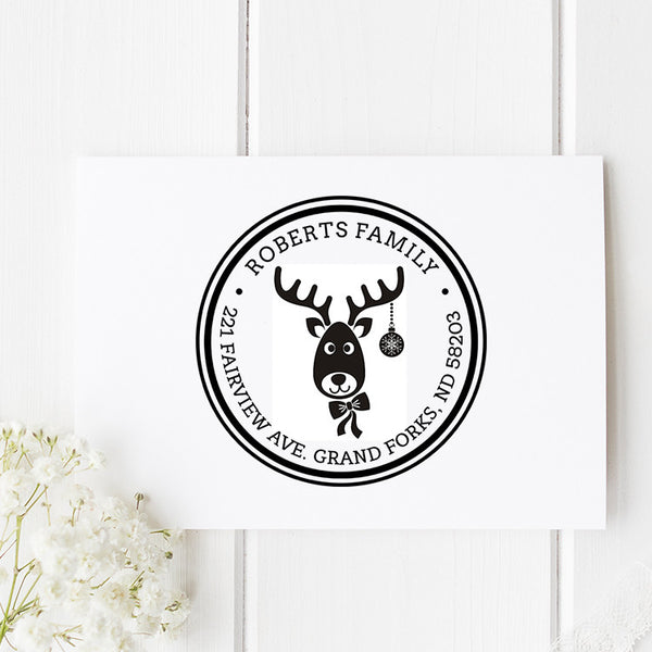 Reindeer Return Address Stamp H12