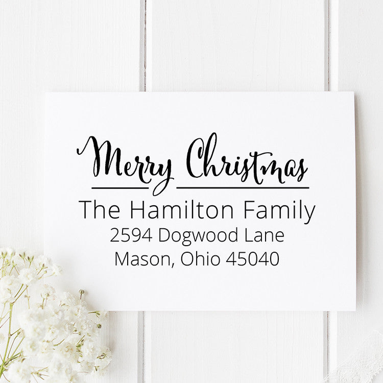 Christmas Holly Return Address Stamp - Stamp Nouveau