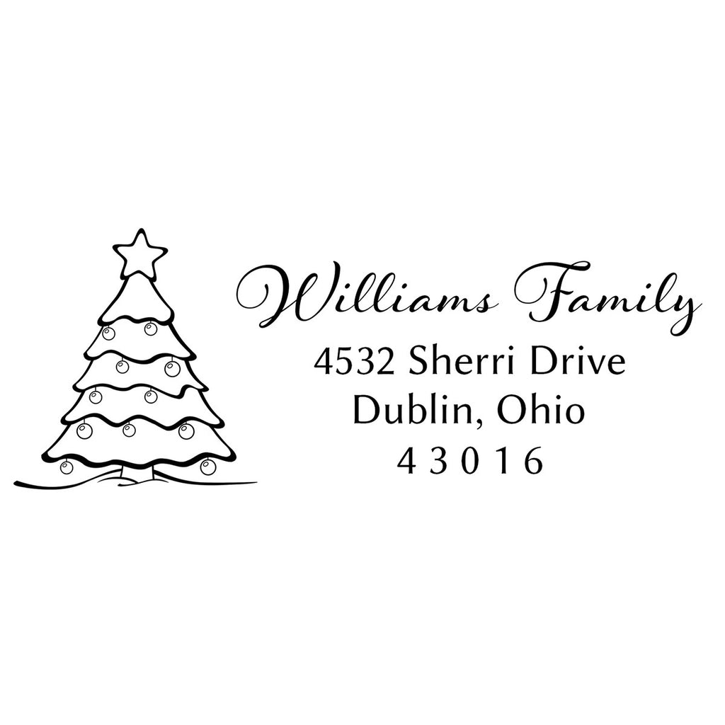 Christmas Tree Return Address Stamp
