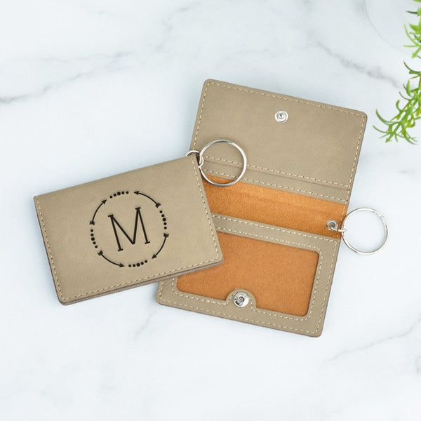 Circle Monogram Personalized Keychain ID Wallet