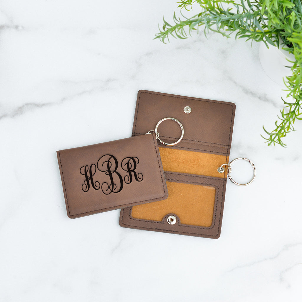Fancy Monogram Personalized Keychain ID Wallet - Stamp Nouveau
