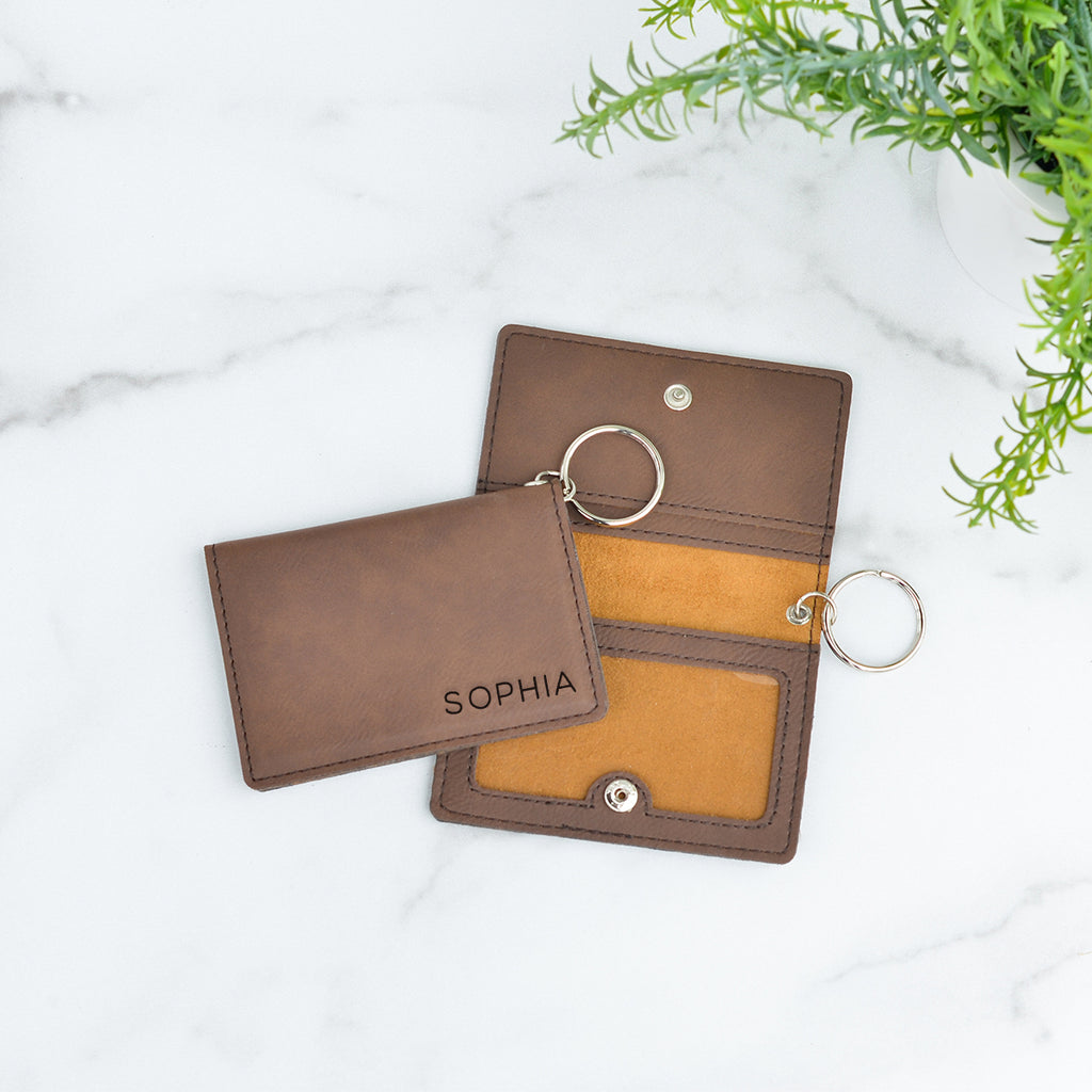 Classic Personalized Keychain ID Wallet - Stamp Nouveau