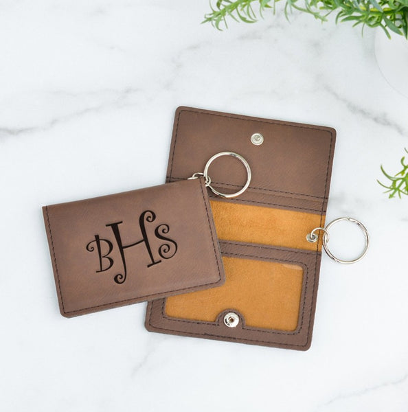 Curly Monogram Personalized Keychain ID Wallet
