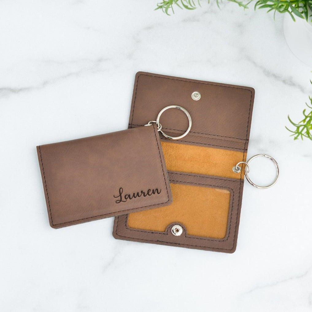Leather Personalized Keychain ID Wallet