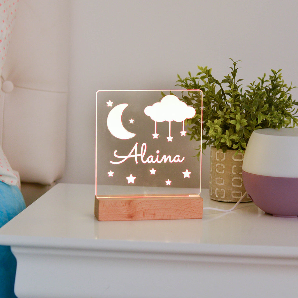 Moon Stars Personalized Night Light Kids Room - Stamp Nouveau