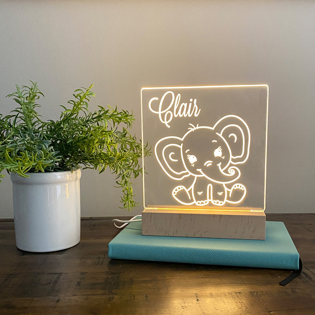 Elephant Personalized Night Light Kids Room - Stamp Nouveau