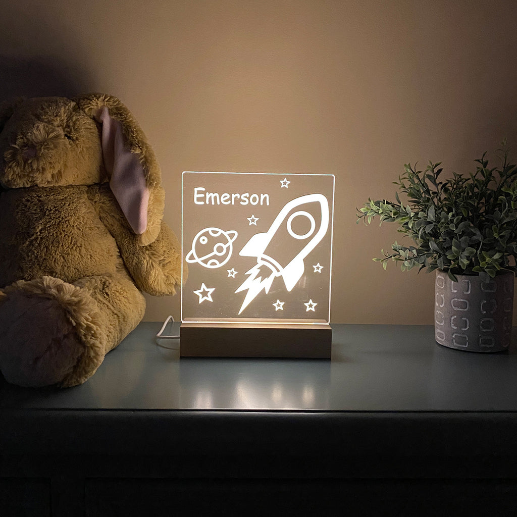 Outer Space Rocket Night Light For Kids Room - Stamp Nouveau