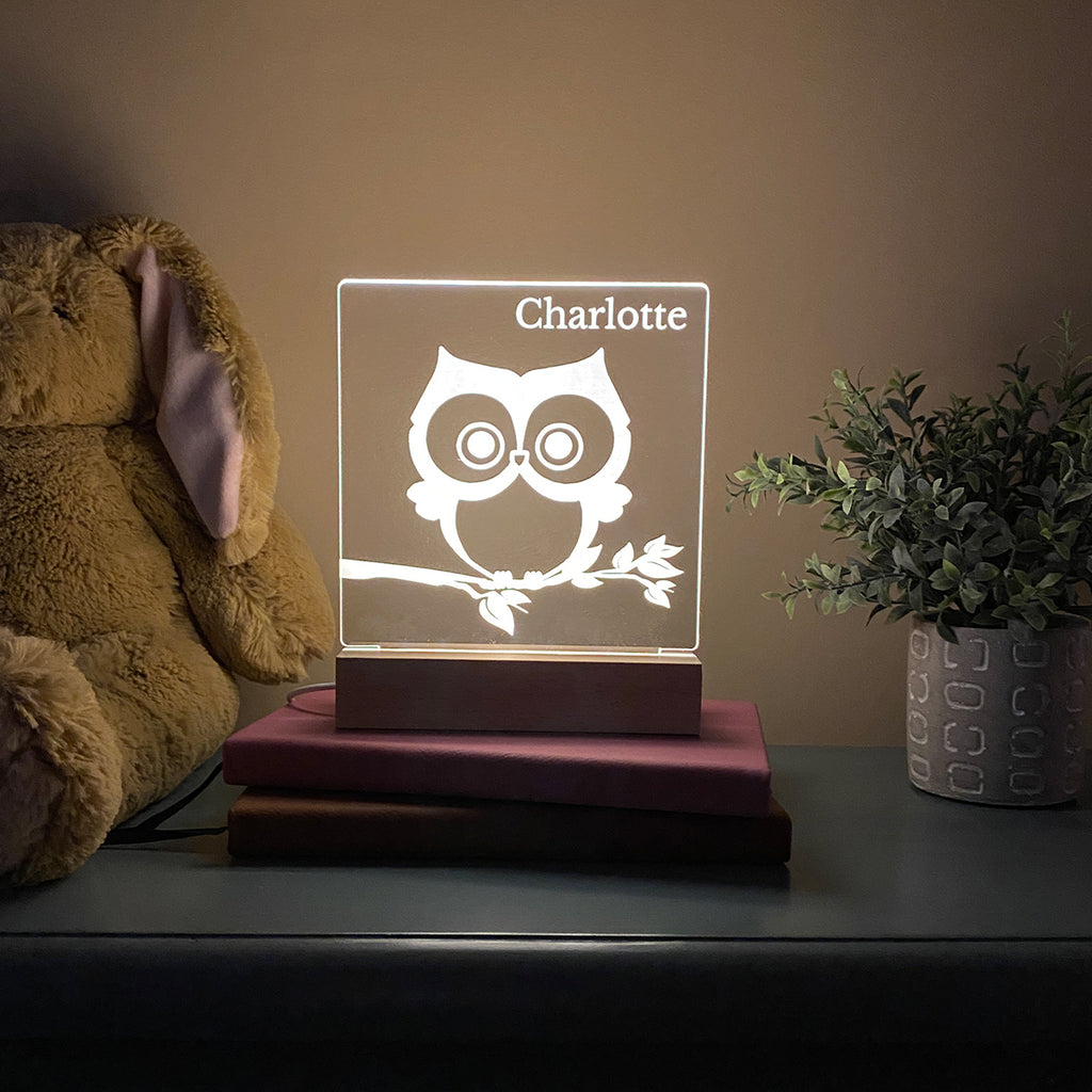 Owl Personalized Night Light Kids Room - Stamp Nouveau