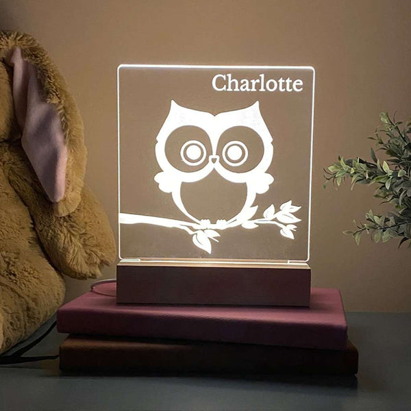 Owl Personalized Night Light Kids Room