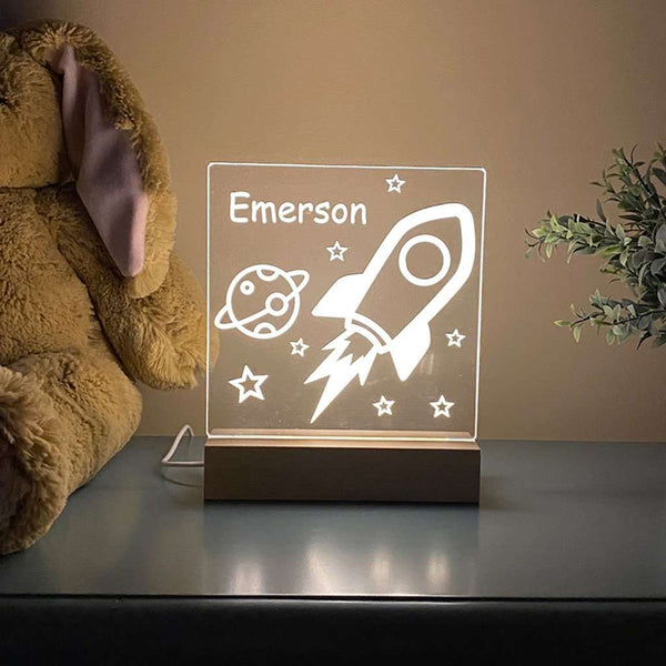 Outer Space Rocket Night Light For Kids Room