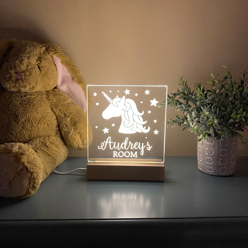Unicorn Personalized Night Light For Kids Room - Stamp Nouveau