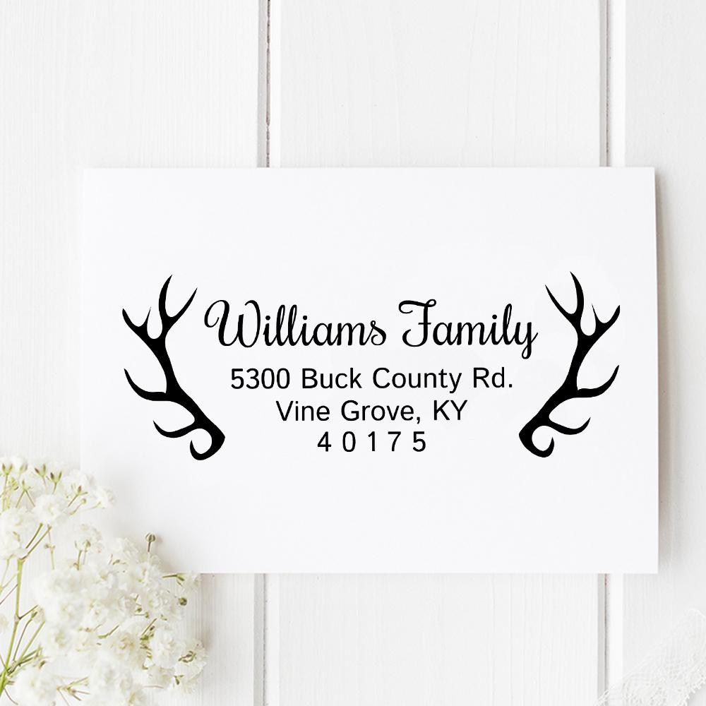 Antler Return Address Stamp - Stamp Nouveau