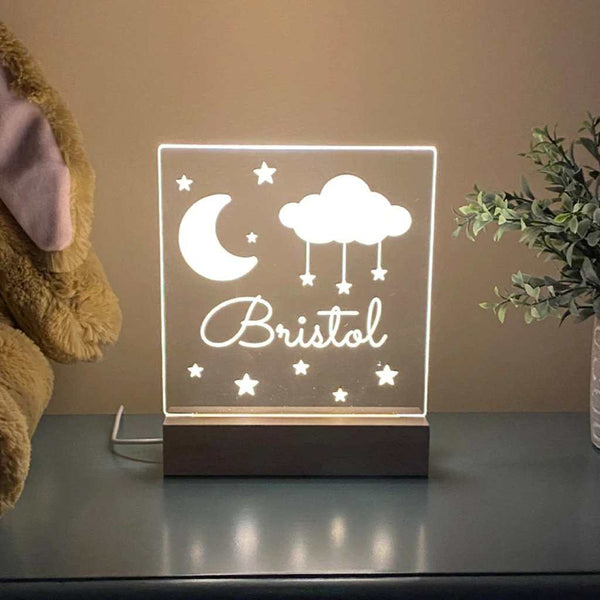Moon Stars Personalized Night Light Kids Room
