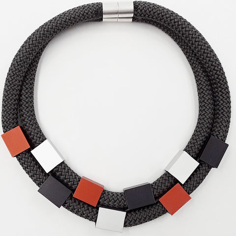 Christina Brampti Two Strand Cube Necklace Black K1889