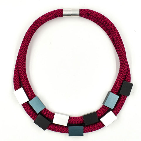 Christina Brampti Two Strand Cube Necklace Red K1889