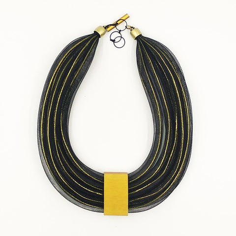 Christina Brampti Mesh Necklace with Gold Square Black K1969g