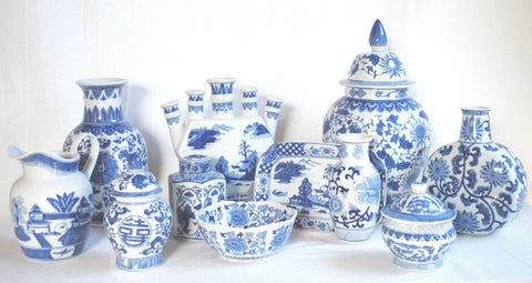 Ceramic Blue and White Vase Collection