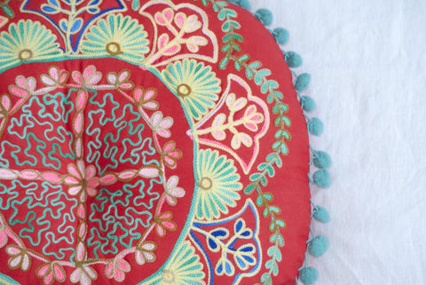 Suzani Round Pillow in 5 Color Options