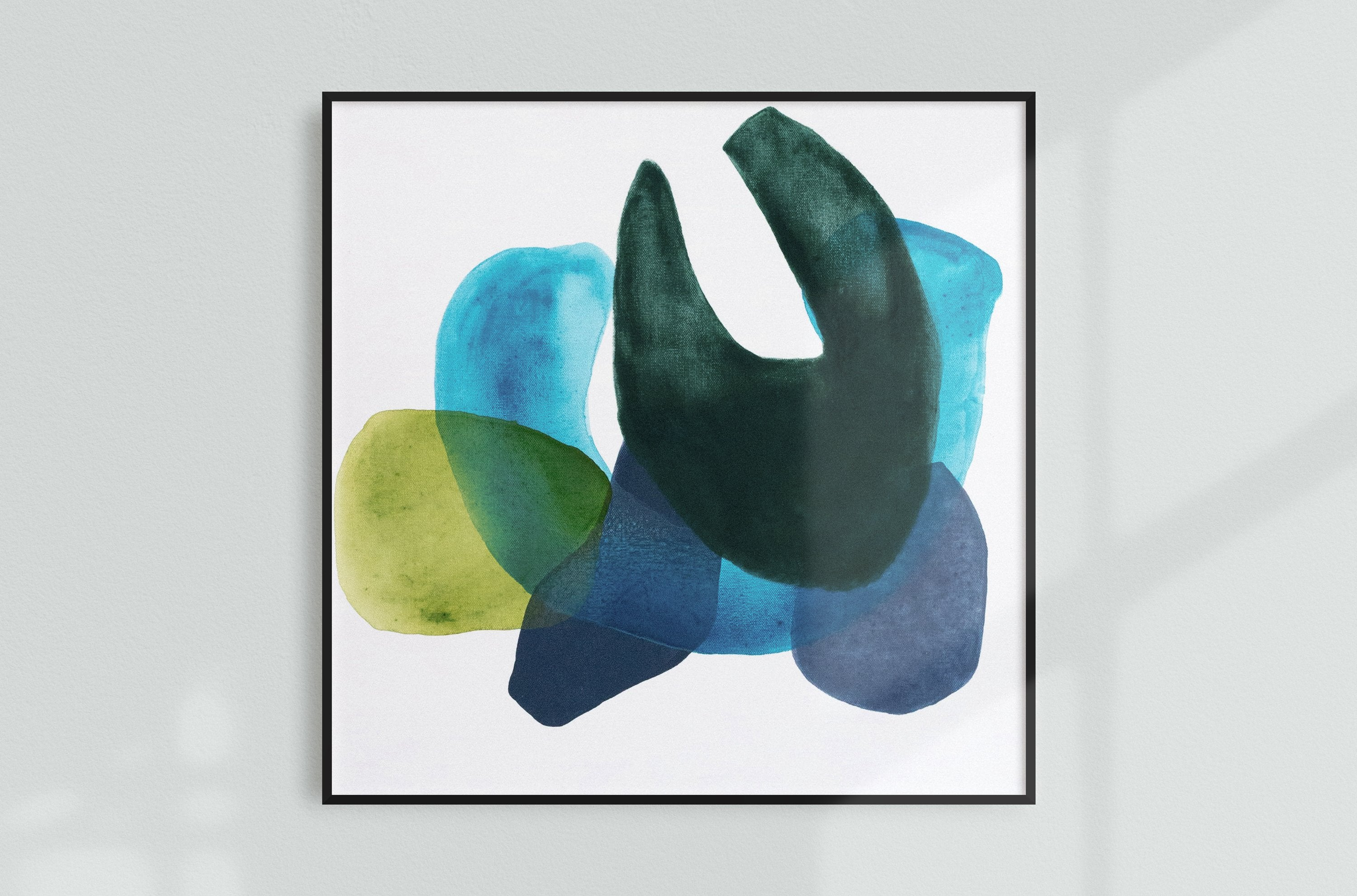 Abstract painting on canvas, blue, navy blue, green, forest green, modern art, geometric art