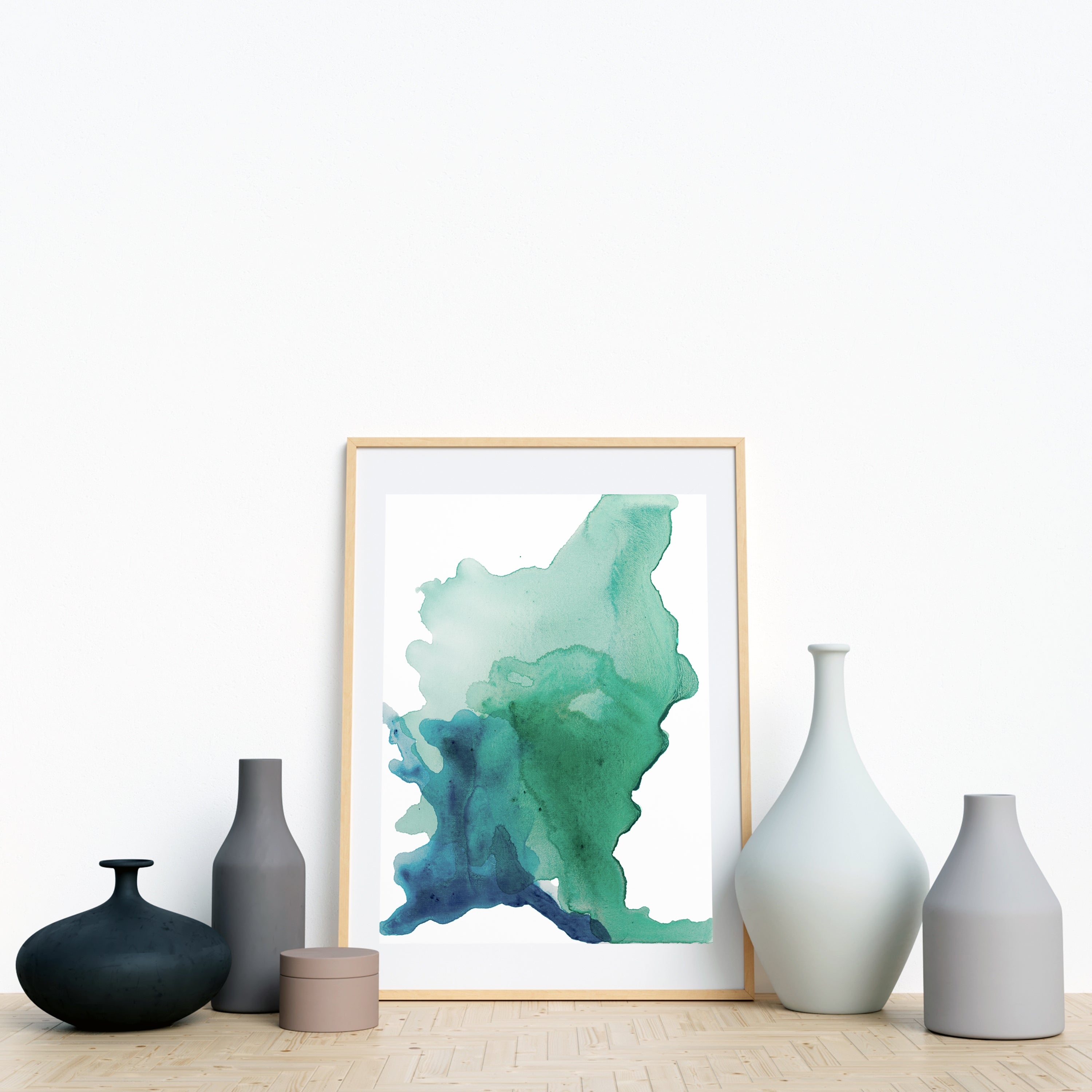 Abstract painting on canvas, fluid painting on canvas, green, light green, aqua, turquoise, oceanic art