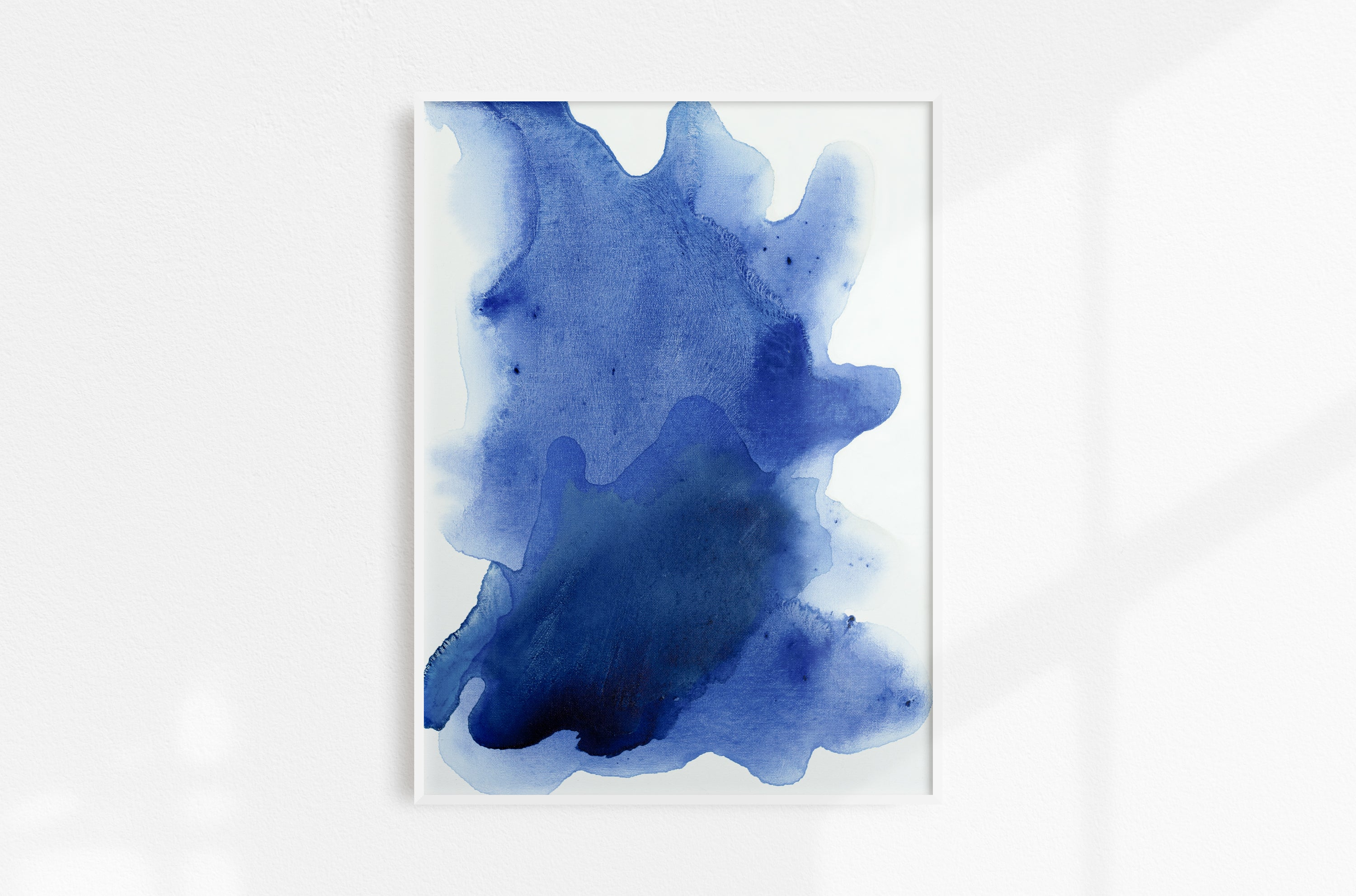 Abstract painting on canvas, fluid painting on canvas, 18x24, aquamarine blue, blue, cobalt blue