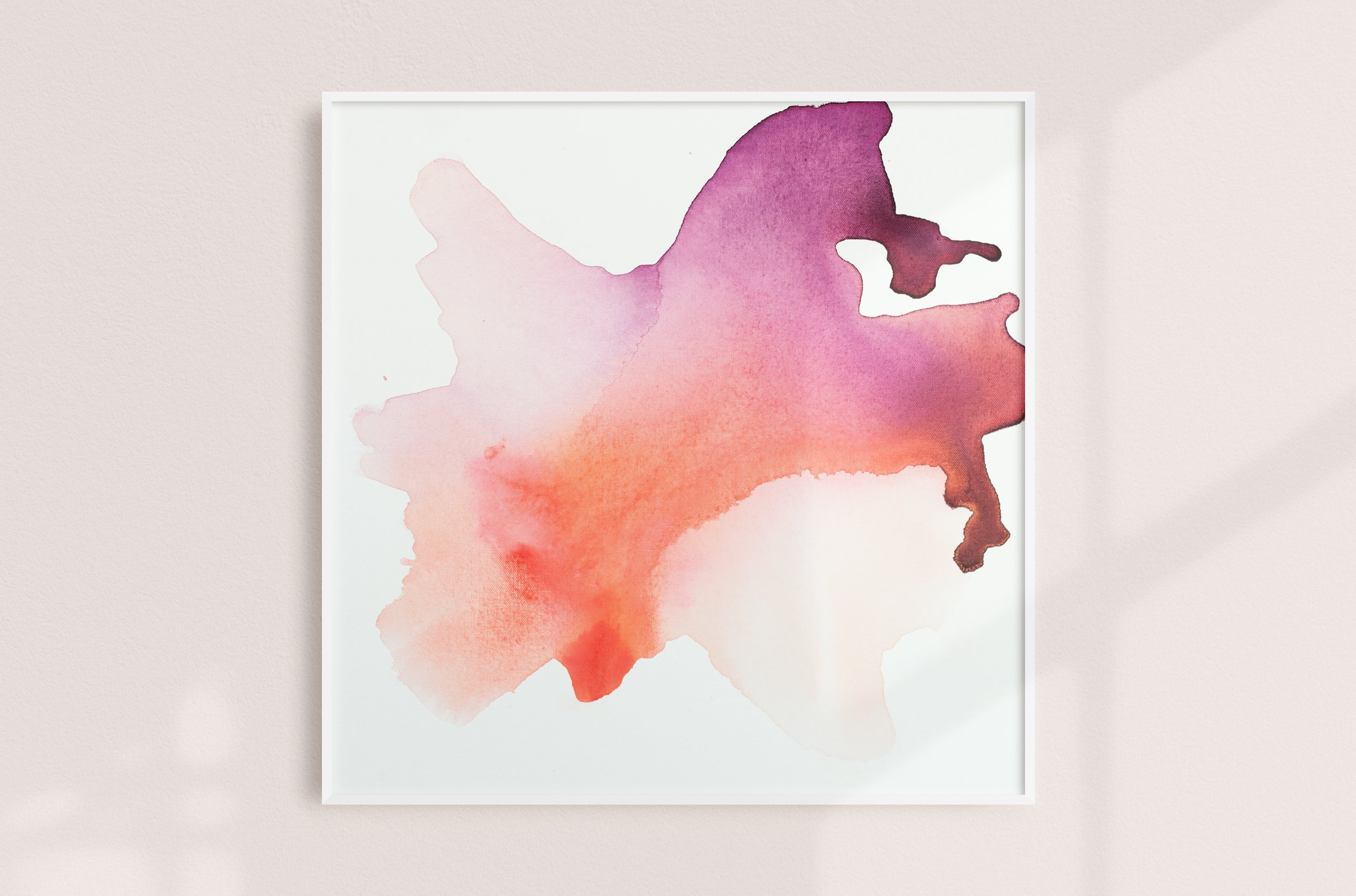 Abstract painting on canvas, fluid painting on canvas, coral, purple, plum, orange, pink, light pink