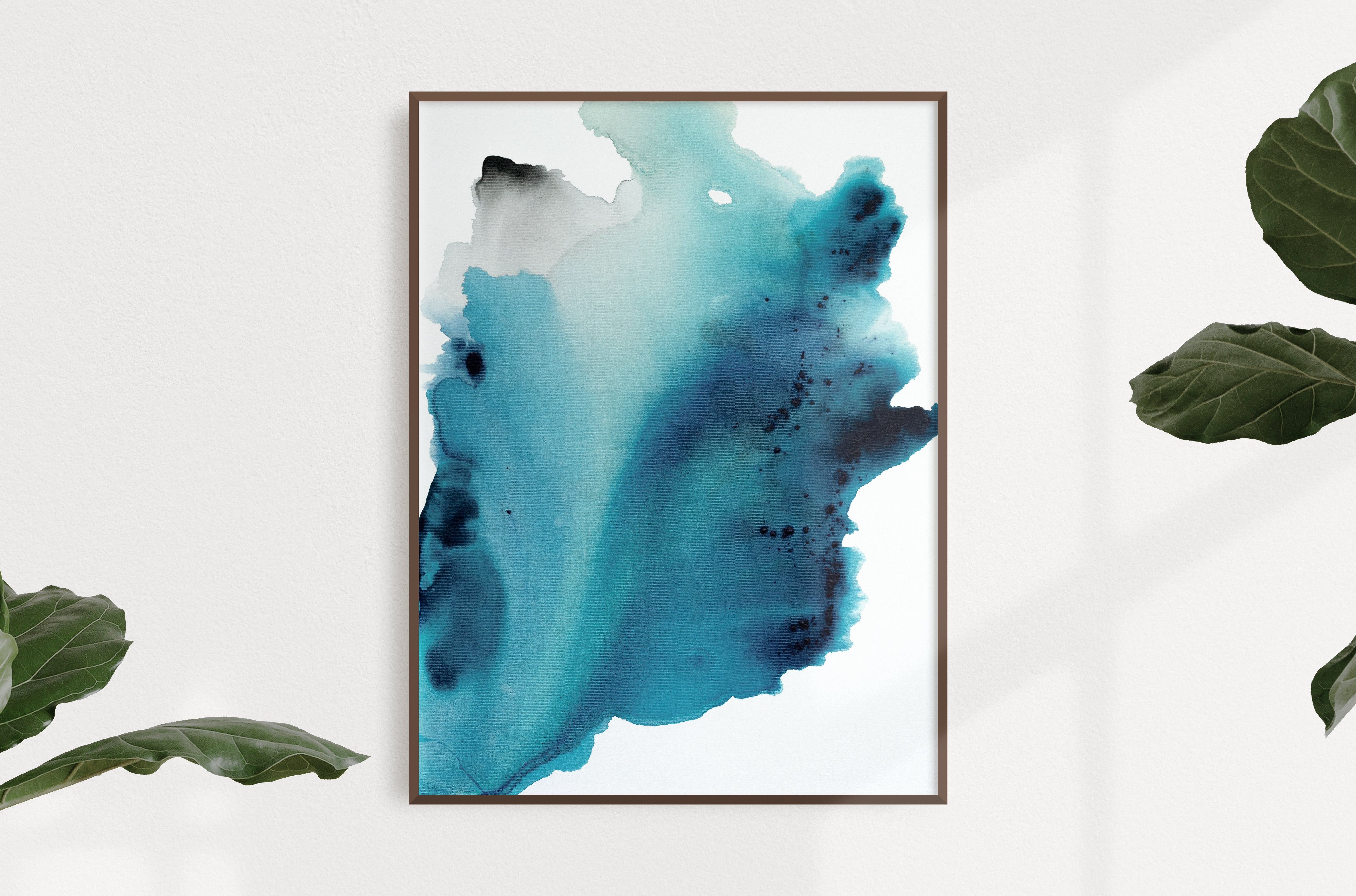 "Abstract painting on canvas, fluid painting, turquoise, green, blue, grey, ocean art, ocean painting, acrylic and ink on gallery wrapped canvas, 30""x40"""